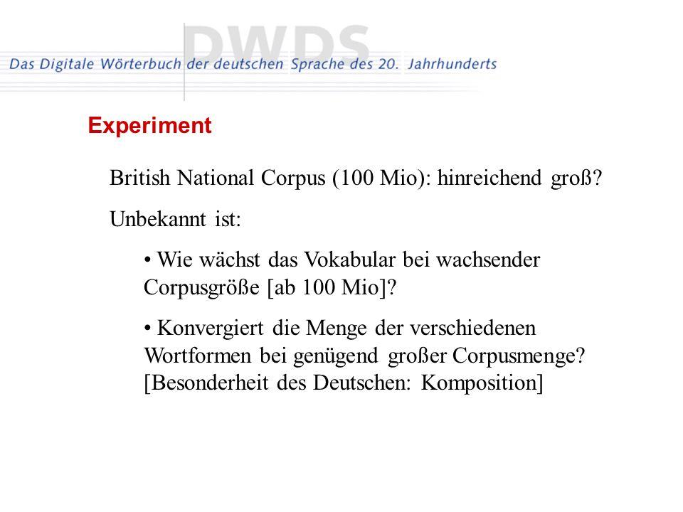 Experiment British National Corpus (100 Mio): hinreichend groß Unbekannt ist: Wie wächst das Vokabular bei wachsender Corpusgröße [ab 100 Mio]